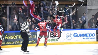 Erik Ullman jublar i plexit efter 1-0, foto: Ilkka Ranta / Frilansfotograferna