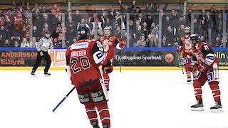 Kim Johansson jublar med Krieger, Bordson och Nowick efter 5-1 i PP, foto Ilkka Ranta / Frilansfotograferna
